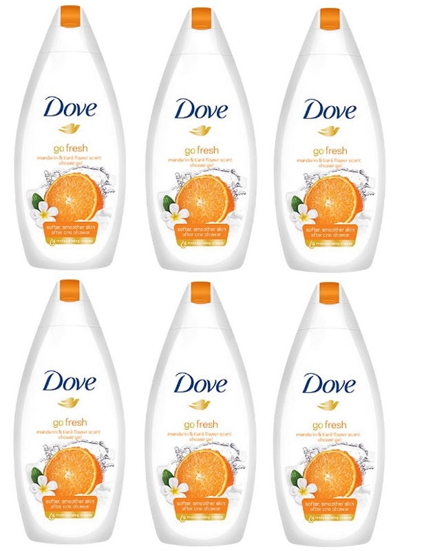 Dove Go Fresh Mandarin & Tiare Flower Scent Shower Gel, 500ml (Pack of 6)