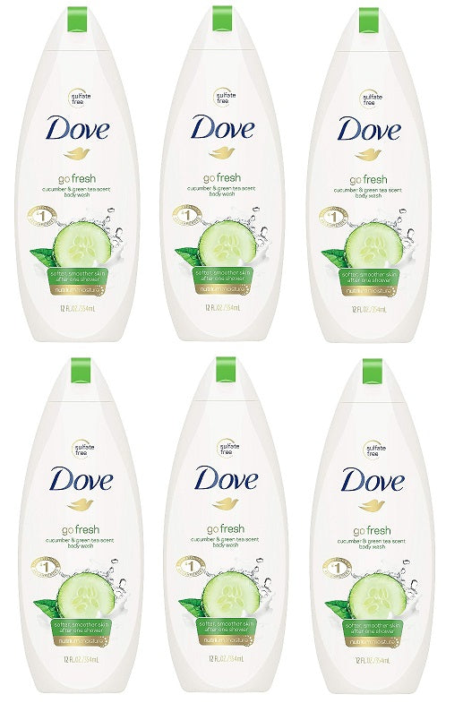 Dove Go Fresh Cucumber & Green Tea Scent Body Wash, 500ml (Pack of 6)