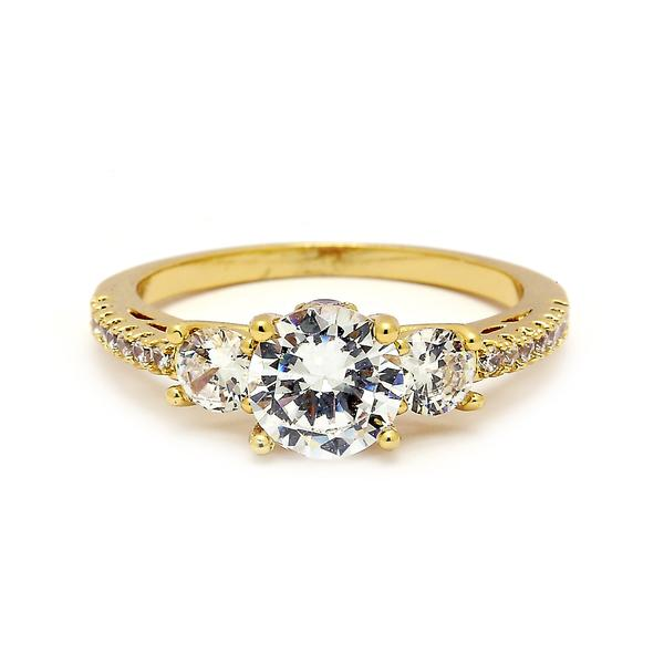 14 KT Gold Filled Cubic Zirconia Engagement Ring - Size 10