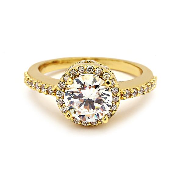 14 KT Gold Filled Cubic Zirconia Engagement Ring - Size 8