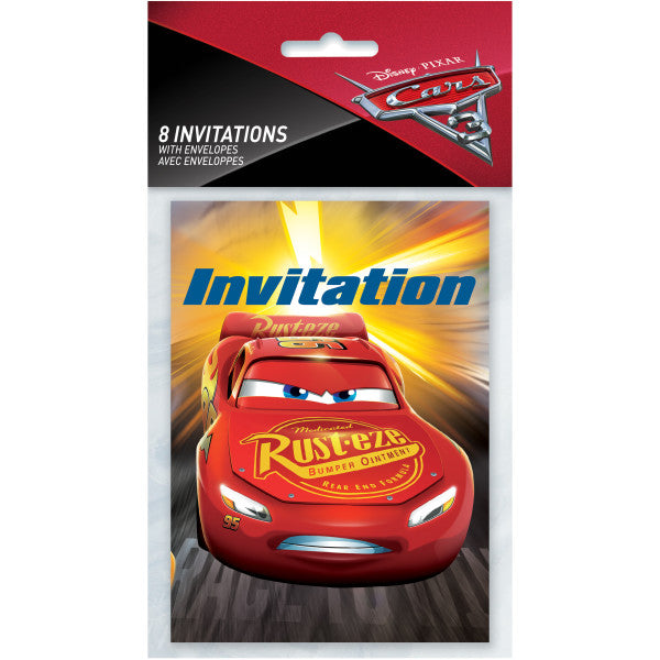 Disney Cars 3 Movie Invitations, 8ct