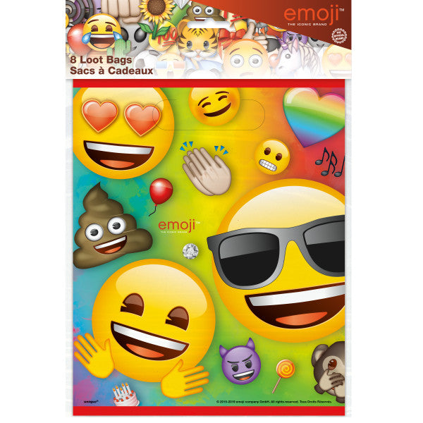 Rainbow Fun Emoji Loot Bags, 8ct