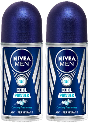 Nivea Men Cool Powder Anti-Perspirant Deo Roll on, 50 ml (Pack of 2)
