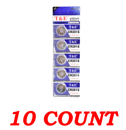 T&E CR2016 3V Silver Cell Lithium Battery, 10 Ct.