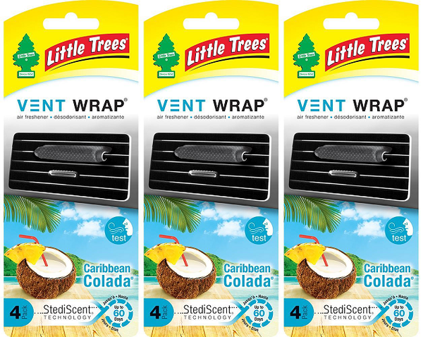 Little Trees Vent Wrap Air Freshener, Caribbean Colada, 4 ct. (Pack of 3)