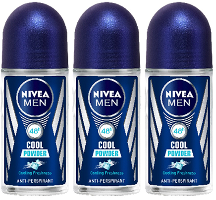 Nivea Men Cool Powder Anti-Perspirant Deo Roll on, 50 ml (Pack of 3)