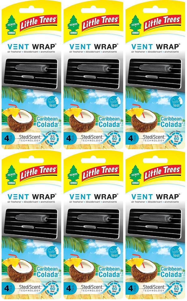Little Trees Vent Wrap Air Freshener, Caribbean Colada, 4 ct. (Pack of 6)