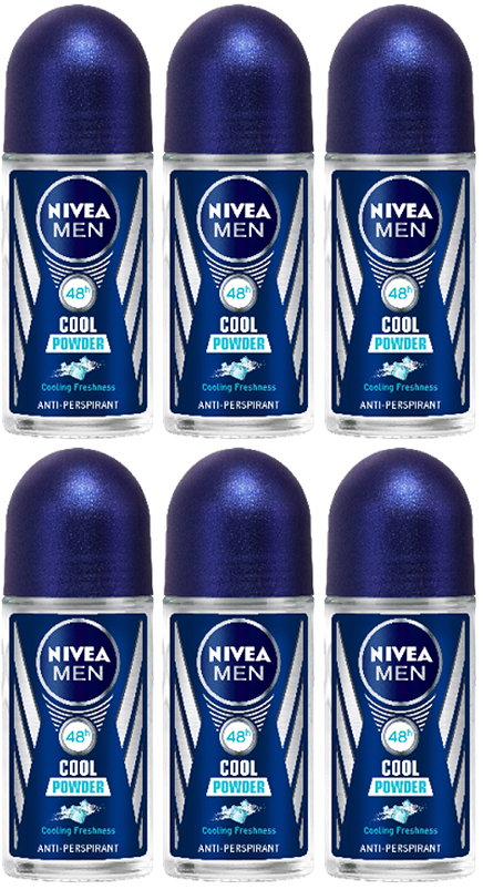 Nivea Men Cool Powder Anti-Perspirant Deo Roll on, 50 ml (Pack of 6)