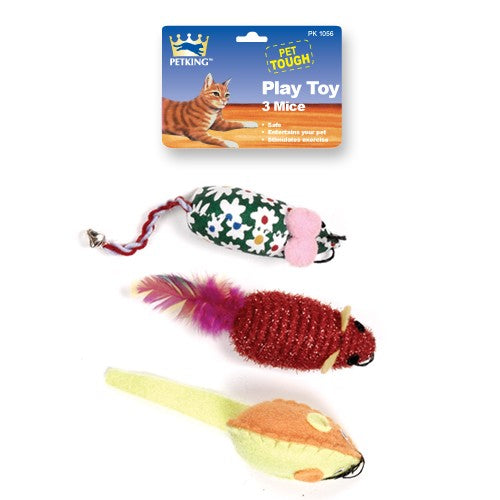 Cat Toy Play Mice, 3-ct.