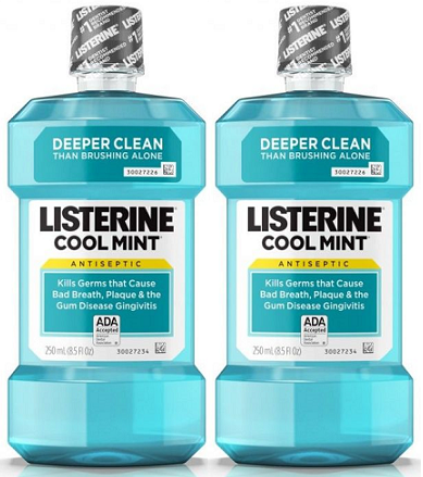 Listerine Antiseptic Mouthwash Cool Mint, 250 ml (Pack of 2)
