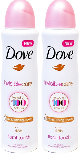 Dove Invisible Care Floral Touch Anti-Perspirant Body Spray, 150 ml (Pack of 2)