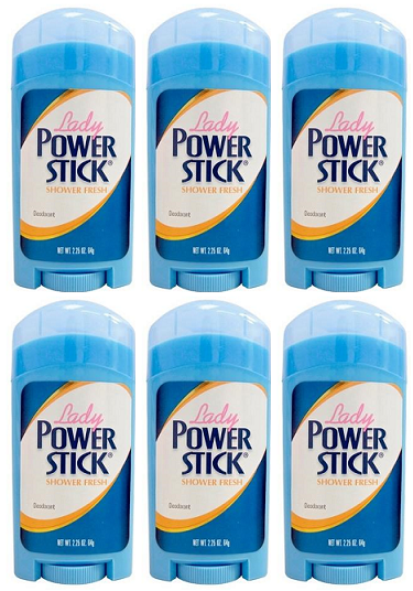 Lady Power Stick Shower Fresh Deodorant, 2.25 oz. (Pack of 6)