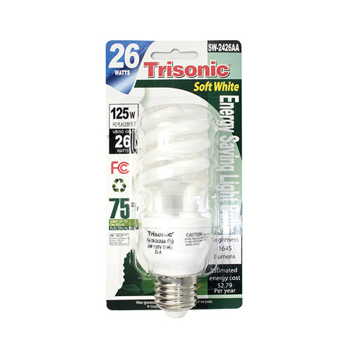 26 Watts (125 Watts Equivalent) Energy Saving Light Bulb, Soft White