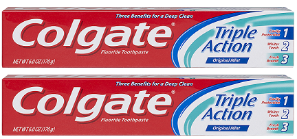 Colgate Triple Action Original Mint Toothpaste, 8.0 oz (Pack of 2)