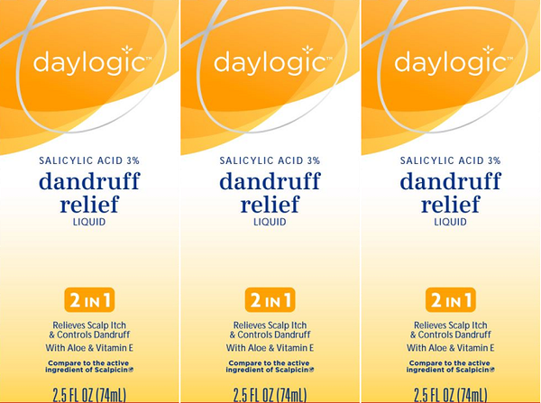 Daylogic Salicylic Acid 3% Dandruff Relief Liquid, 2.5 oz (EXP 6/20) (Pack of 3)