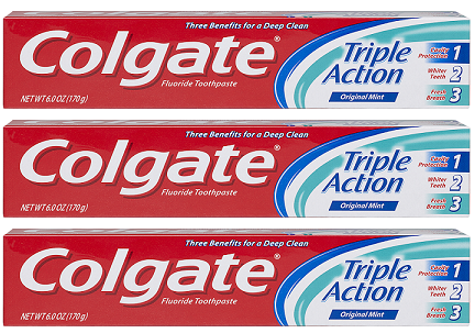 Colgate Triple Action Original Mint Toothpaste, 8.0 oz (Pack of 3)