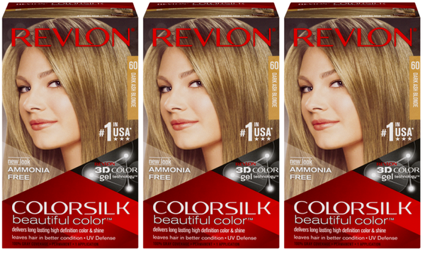 Revlon ColorSilk Beautiful Color™ Hair Color - 60 Dark Ash Blonde (Pack of 3)
