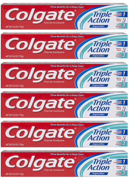 Colgate Triple Action Original Mint Toothpaste, 8.0 oz (Pack of 6)
