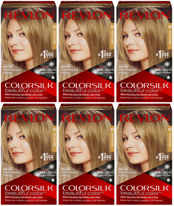 Revlon ColorSilk Beautiful Color™ Hair Color - 60 Dark Ash Blonde (Pack of 6)