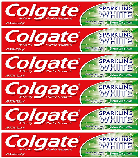 Colgate Sparking White Mint Zing Toothpaste, 8.0 oz (Pack of 6)
