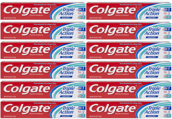 Colgate Triple Action Original Mint Toothpaste, 8.0 oz (Pack of 12)