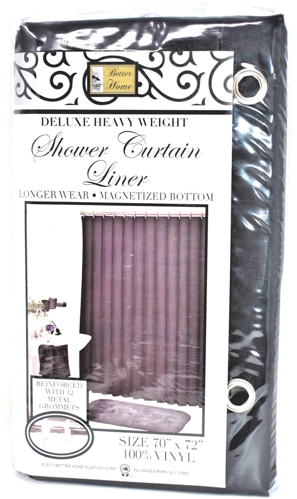 "Deluxe Heavy Weight 100% Vinyl Shower Curtain Liner 70"" x 72"", Black Color"