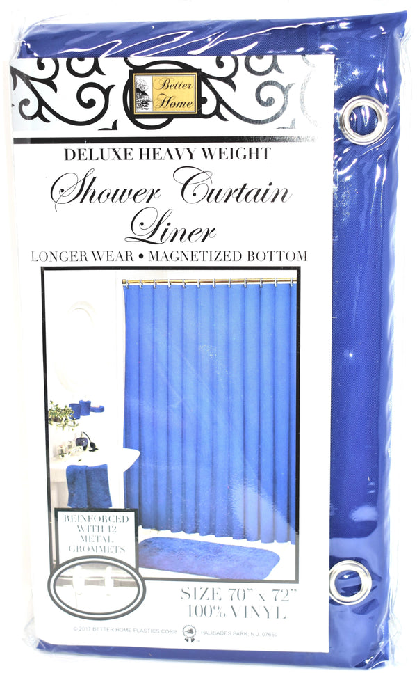 "Deluxe Heavy Weight 100% Vinyl Shower Curtain Liner 70"" x 72"", Navy Blue Color"