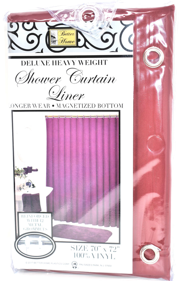 "Deluxe Heavy Weight 100% Vinyl Shower Curtain Liner 70"" x 72"", Burgundy Color"