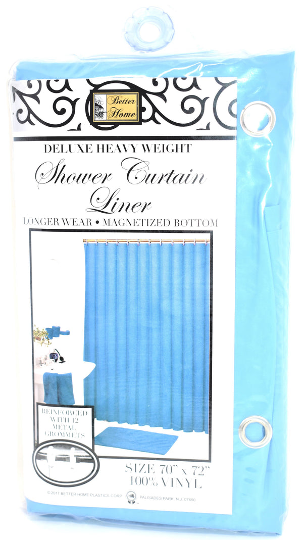 "Deluxe Heavy Weight 100% Vinyl Shower Curtain Liner 70"" x 72"", Blue Color"