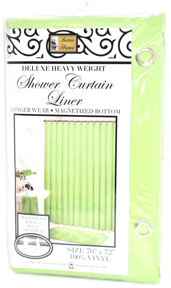 "Deluxe Heavy Weight 100% Vinyl Shower Curtain Liner 70"" x 72"", Peridot Green Color"