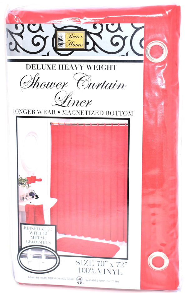 "Deluxe Heavy Weight 100% Vinyl Shower Curtain Liner 70"" x 72"", Red Color"