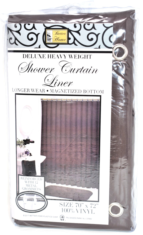 "Deluxe Heavy Weight 100% Vinyl Shower Curtain Liner 70"" x 72"", Chocolate Color"