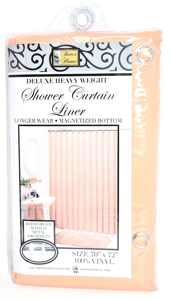 "Deluxe Heavy Weight 100% Vinyl Shower Curtain Liner 70"" x 72"", Peach Color"