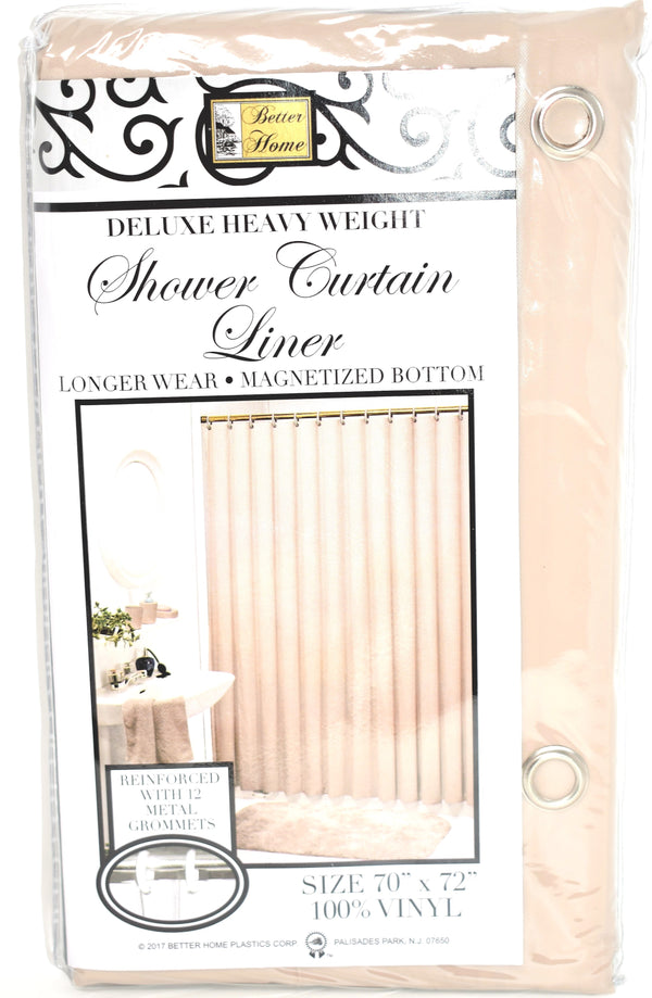 "Deluxe Heavy Weight 100% Vinyl Shower Curtain Liner 70"" x 72"", Linen Color"