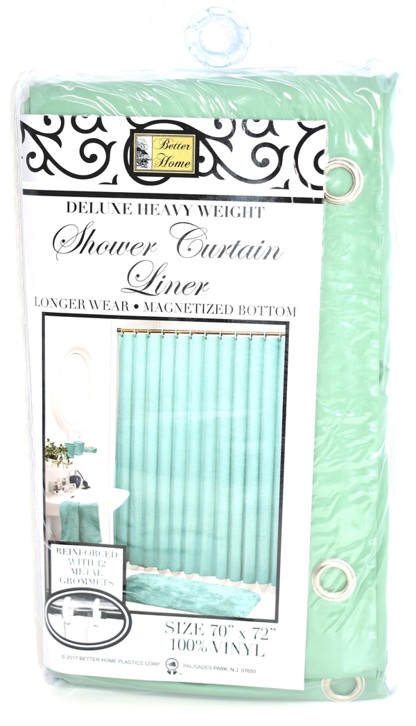 "Deluxe Heavy Weight 100% Vinyl Shower Curtain Liner 70"" x 72"", Sage Color"