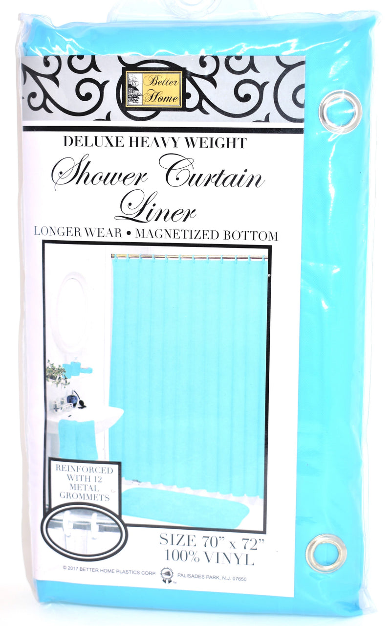 "Deluxe Heavy Weight 100% Vinyl Shower Curtain Liner 70"" x 72"", Turquoise Color"