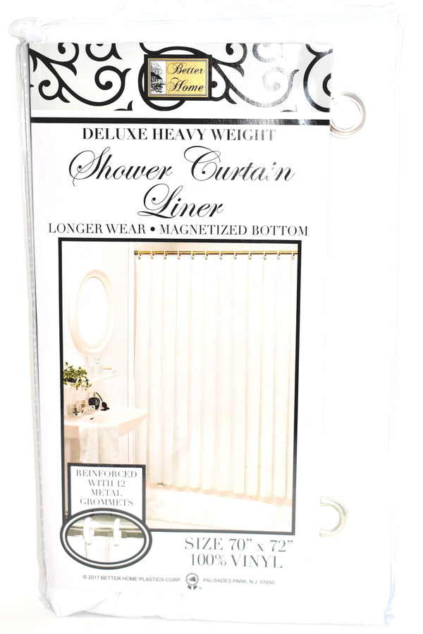 "Deluxe Heavy Weight 100% Vinyl Shower Curtain Liner 70"" x 72"", White Color"