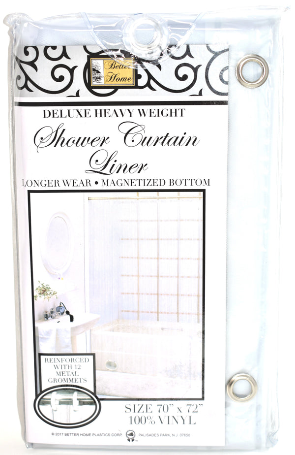 "Deluxe Heavy Weight 100% Vinyl Shower Curtain Liner 70"" x 72"", Frosty Clear Color"