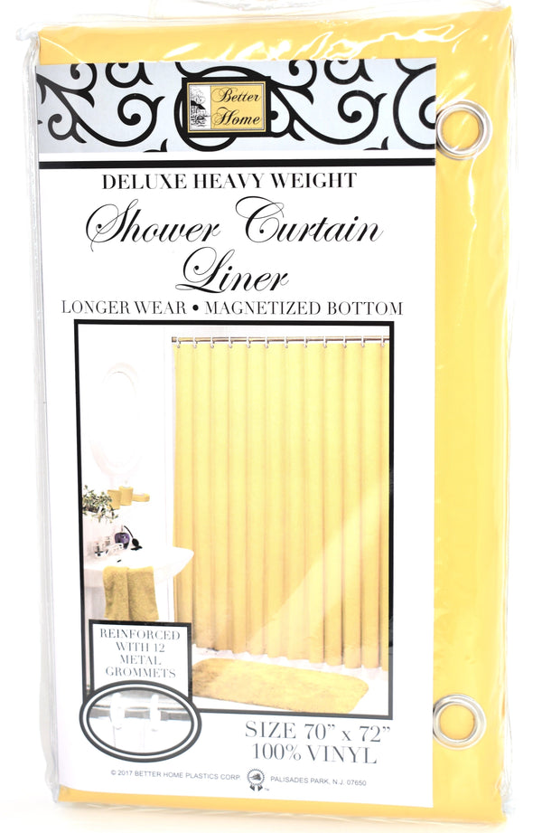 "Deluxe Heavy Weight 100% Vinyl Shower Curtain Liner 70"" x 72"", Golden Rod Color"