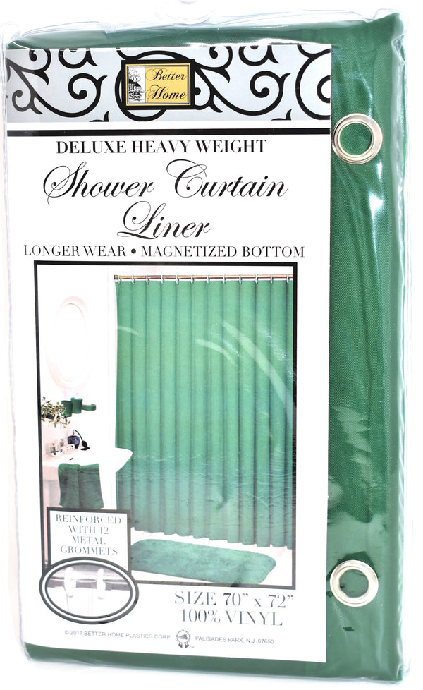 "Deluxe Heavy Weight 100% Vinyl Shower Curtain Liner 70"" x 72"", Hunter Green Color"