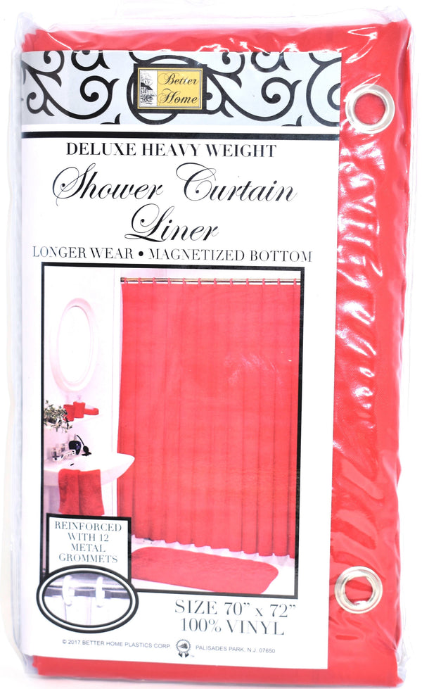 "Deluxe Heavy Weight 100% Vinyl Shower Curtain Liner 70"" x 72"", Brick Red Color"