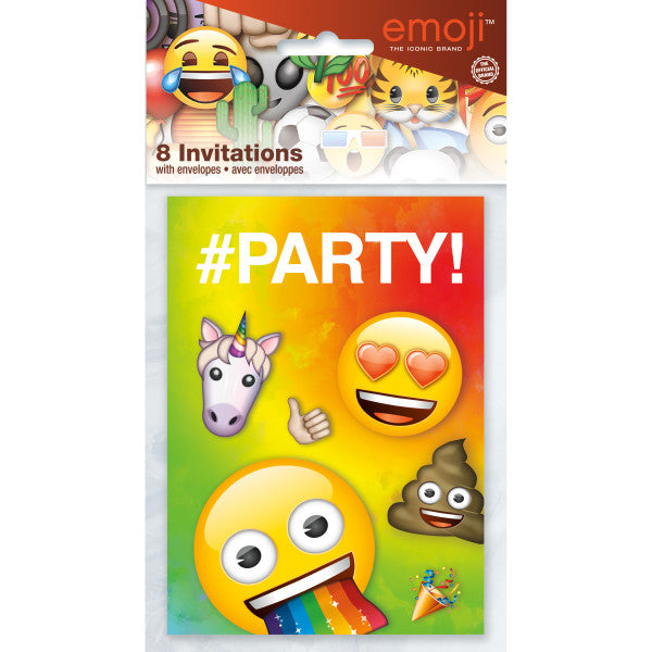 Rainbow Fun Emoji Invitations, 8ct