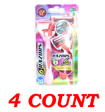 Women 6 Blade Razors For Normal & Sensitive Skin, 4-ct.