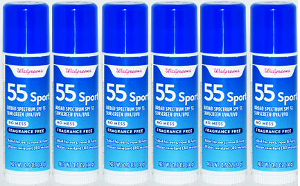 Walgreens Broad Spectrum SPF 55 Sport Sunscreen Stick, 0.5 oz (Pack of 6)