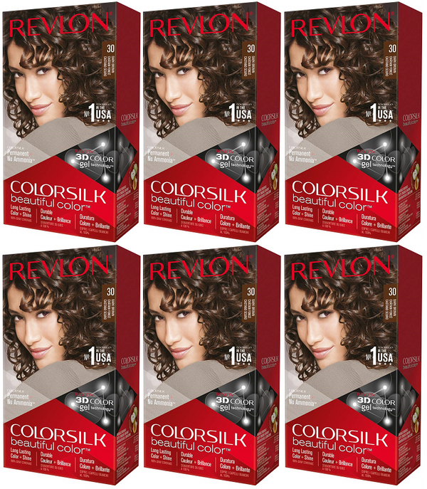 Revlon ColorSilk Beautiful Color™ Hair Color - 30 Dark Brown (Pack of 6)