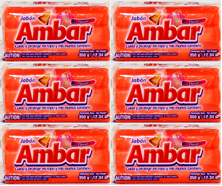 Jabon Floral Ambar Detergent Bar, 350g (Pack of 6)