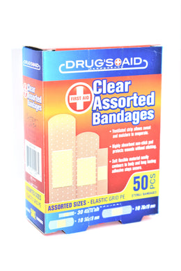 First Aid Clear Assorted Bandages, 50-ct.