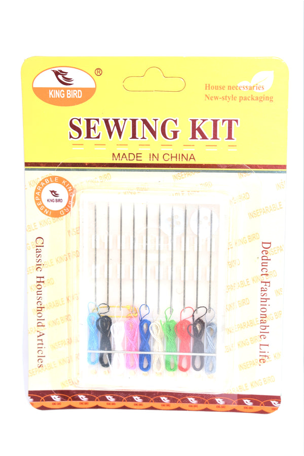 Assorted Color Sewing Thread Attached to Sewing Needles, 10-ct.