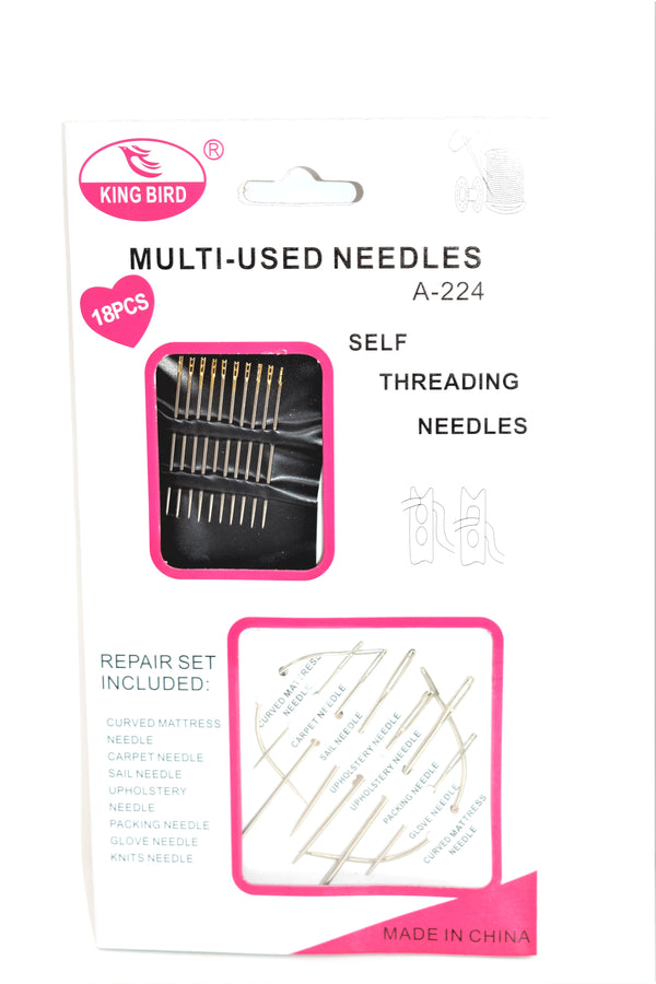 Assorted Multi-Use Self Threading Sewing Needles, 18-ct.