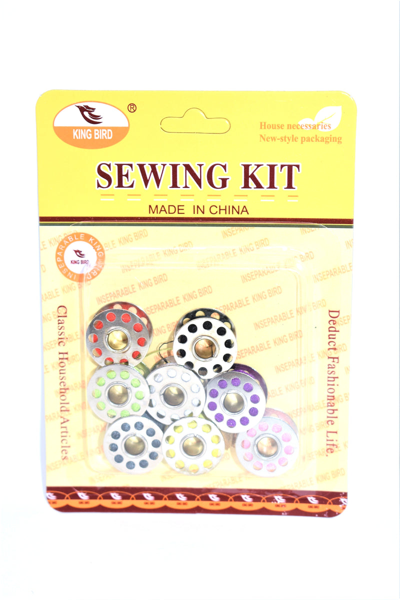 Metal Bobbin Spools with Colorful Thread, 8-ct.